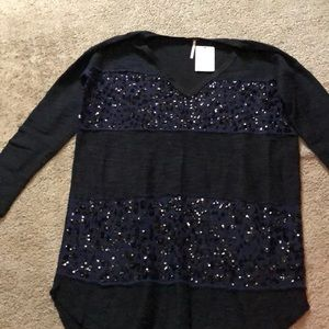 Free people navy small sequin shirt NWT